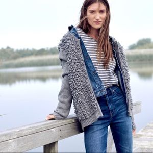 Madewell Grey Loop Fringe Sweater Cardigan Fuzzy